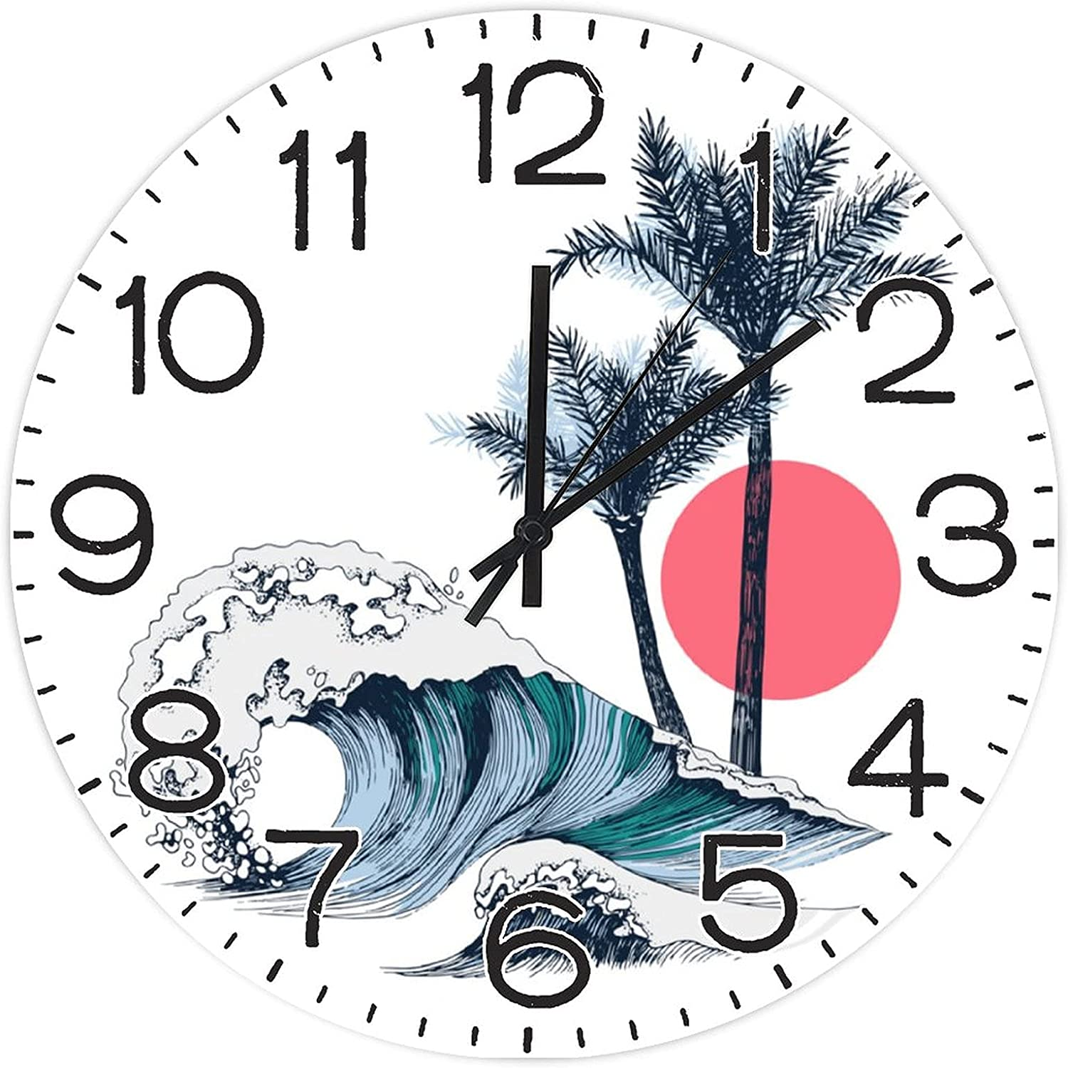 shopping 12 Inch Wall Clock Silent Wooden Ticking Ba Large-scale sale Round Non