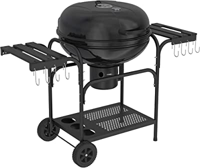 YITAHOME BBQ Charcoal Grill 22-inch, Outdoor Grill with Side Shelf for Barbeque Patio Backyard Picnic Camping Hiking Cooking - Black