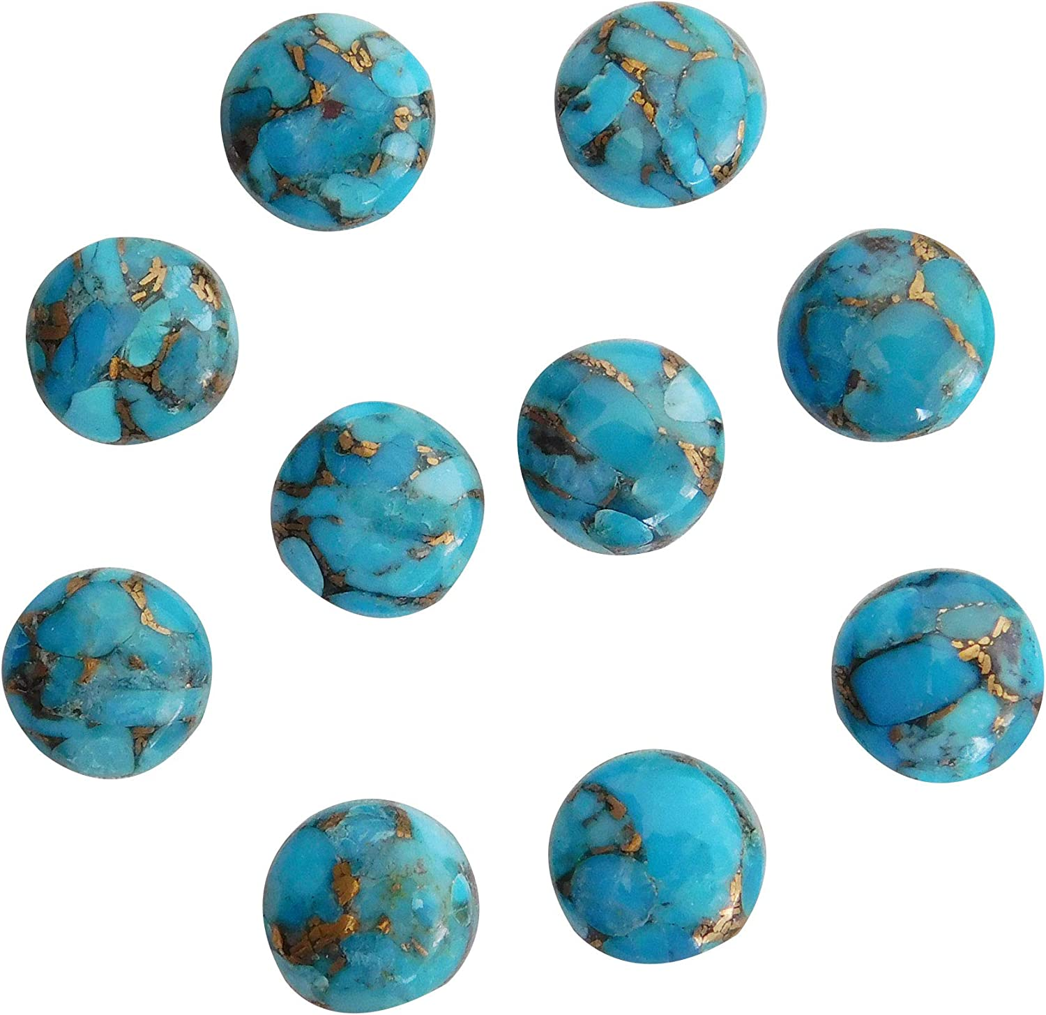 11x11 mm Round Natural Blue Cabochon 4 years warranty Copper safety Turquoise Jewelry Ma