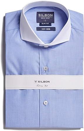 SILBON - Camisa Vestir Celeste Cuello Blanco Easy Iron para ...