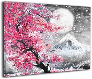 Beautiful Landscape With Blooming Cherry Blossoms Sakura And Mountain Wall Art Painting Print On Canvas Art The Picture For Home Modern Decoration 16 X 20 Inches