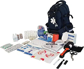 LINE2design First Aid Kit - EMS Emergency First Responder Rescue Fully Stocked Large Professional Medical Supplies Backpack Trauma Kit - EMT - Paramedic - Navy Blue