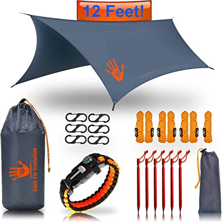 Best Choice Products Bug Net or Hammock RAIN Fly Tent TARP 12x10 / 10x10 ft & Survival Bracelet Gear – Waterproof Eno Rain Cover – Lightweight Diamond Ripstop Nylon – Camping Accessories