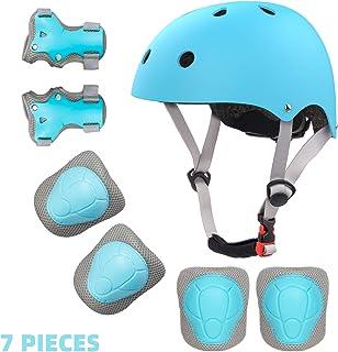 کلاه ایمنی و پد کودک نو پا برای 2-8 سال قابل تنظیم کودک دوچرخه کلاه ایمنی زانوی آرنج و محافظ مچ دست برای اسکیت بورد Roller Blading اسکوتر دوچرخه سواری اسکیت و بیشتر