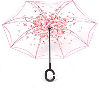 WerFamily Double Layer Inverted Umbrella Cars Reverse Umbrella, Windproof UV Protection Big Straight Umbrella for Car Rain Outdoor with C-Shaped Handle (B-Pink)