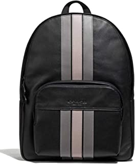 Coach Houston Backpack Daypack Laptop Bag with Varsity Stripe in Smooth Leather F72964 QB/Black Multi