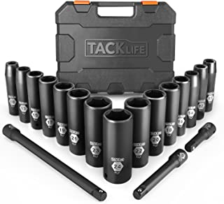 TACKLIFE Drive Impact Socket Set, 18pcs 1/2-inch Drive Deep Impact Socket Set, 6 Point,..