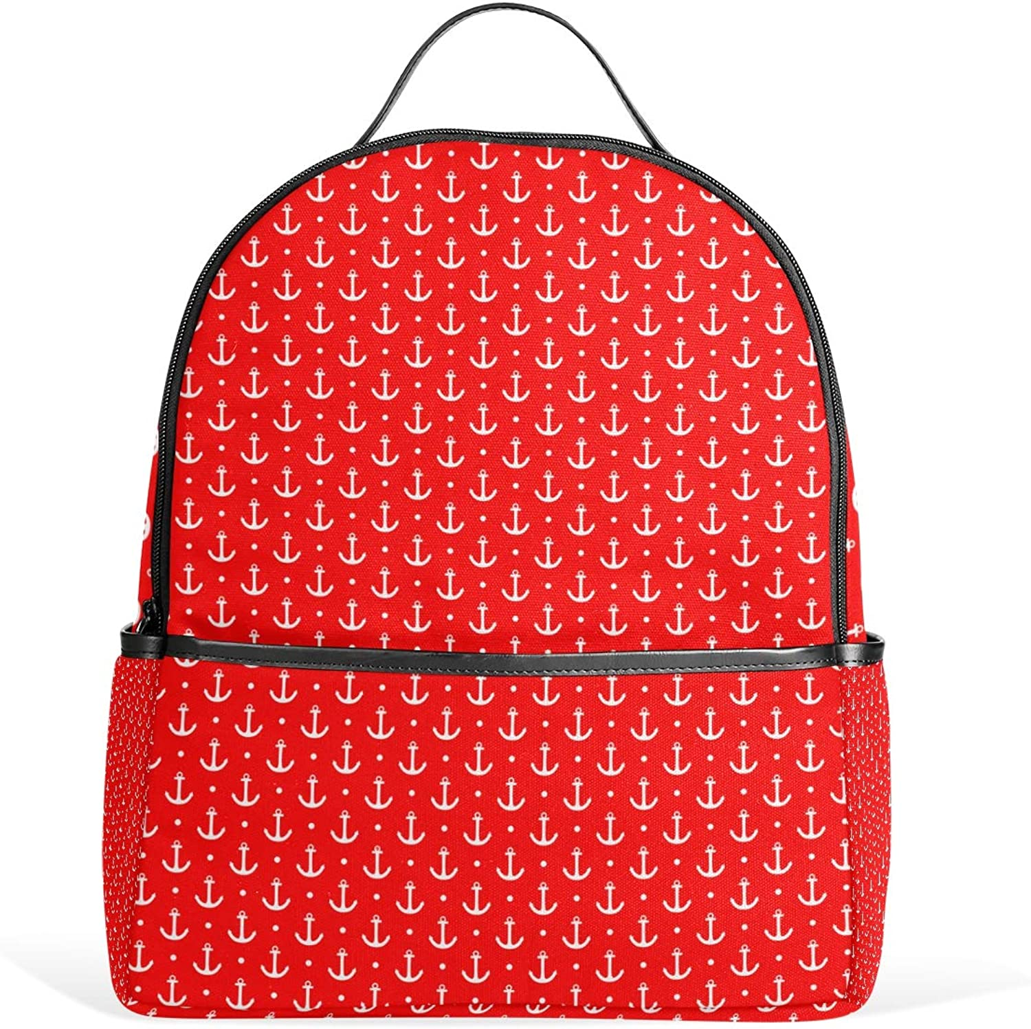 Fashion Backpack White Anchor and Dots Red Small Satchels Daypacks Travel Shoulder Bag Rucksack for Girls