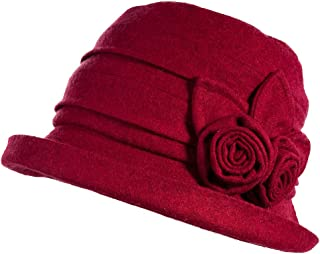 Womens Wool Blend Winter Bucket 1920s Vintage Derby Hat Fedora Round Fall Bowler 55-59cm