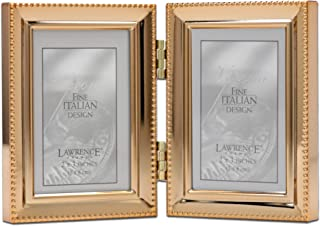 Vintage folding frame holds two 2x2 pictures cream colored with purple floral detail