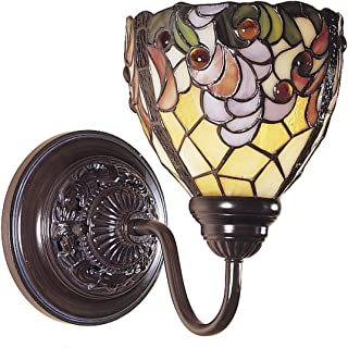 Dale Tiffany TW100851 Tiffany One Light Wall Sconce from Mende Collection Dark Finish, Mica Bronze