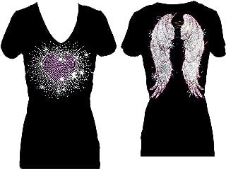 Pink Heart Burst Angel Wings Rhinestone Womens V Neck Short Sleeve Tee Shirt