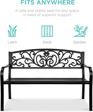 Best Choice Products 50in Steel Garden Bench for Outdoor, Park, Yard, Patio Furniture Chair w/Floral Design Backrest, Slatted