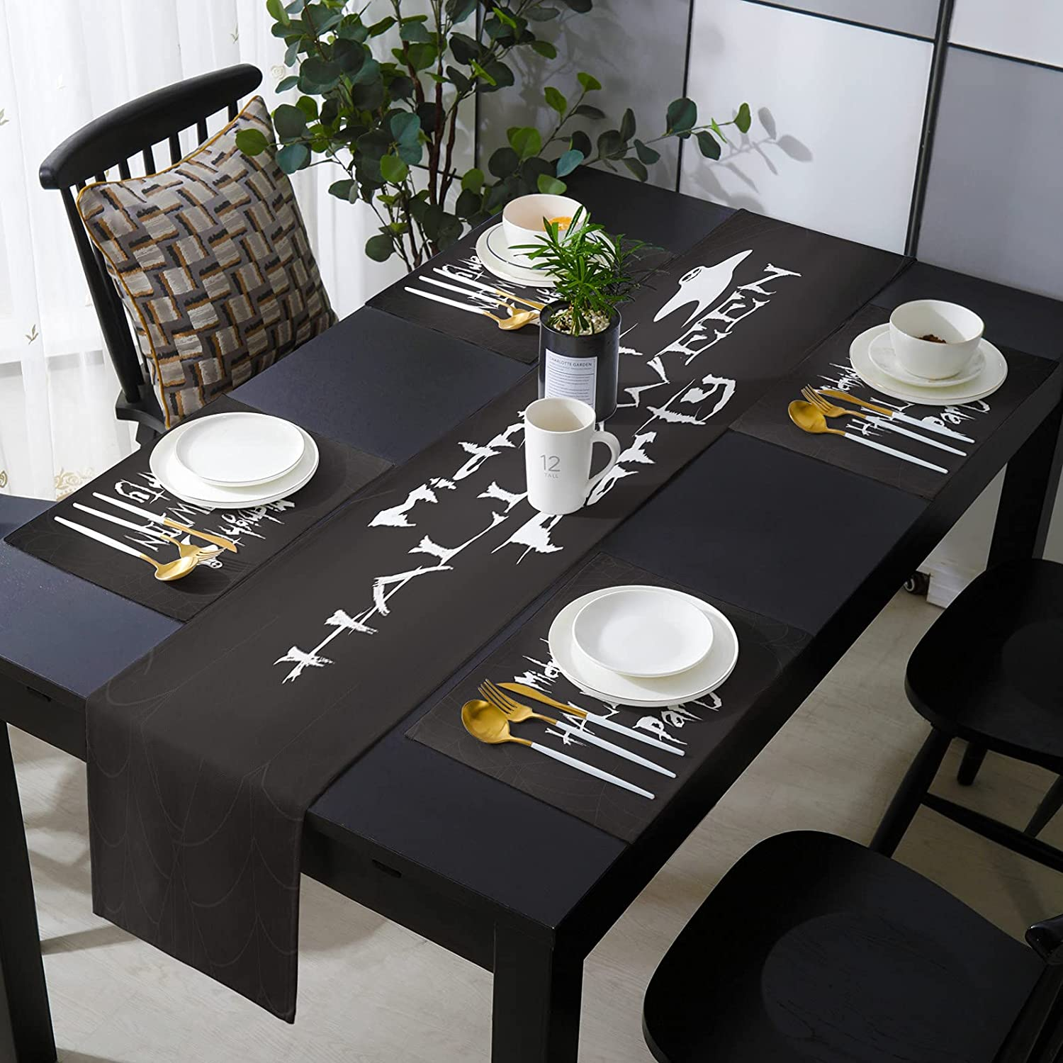 SIGOUYI Elegant Placemats with Matching Halloween Cash special price Runner Table Indefinitely