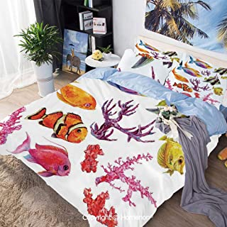 Homenon 3 Piece Set Microfiber Fabric,Illustration of Tropical Fish Seaweed Coral Algae and Jellyfish Oceanic Wild Life,Queen Size,Hypoallergenic,Cool Breathable,Orange Purple