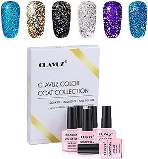 Gel Polish,CLAVUZ 6pcs Glitter Nail Polish Kit Soak Off UV LED Nail Lacquer Manicure Nail Art Tool Kit 10ML