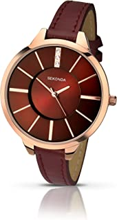 Sekonda Editions Rose Gold Dial Burgandy Strap Ladies Watch 2245