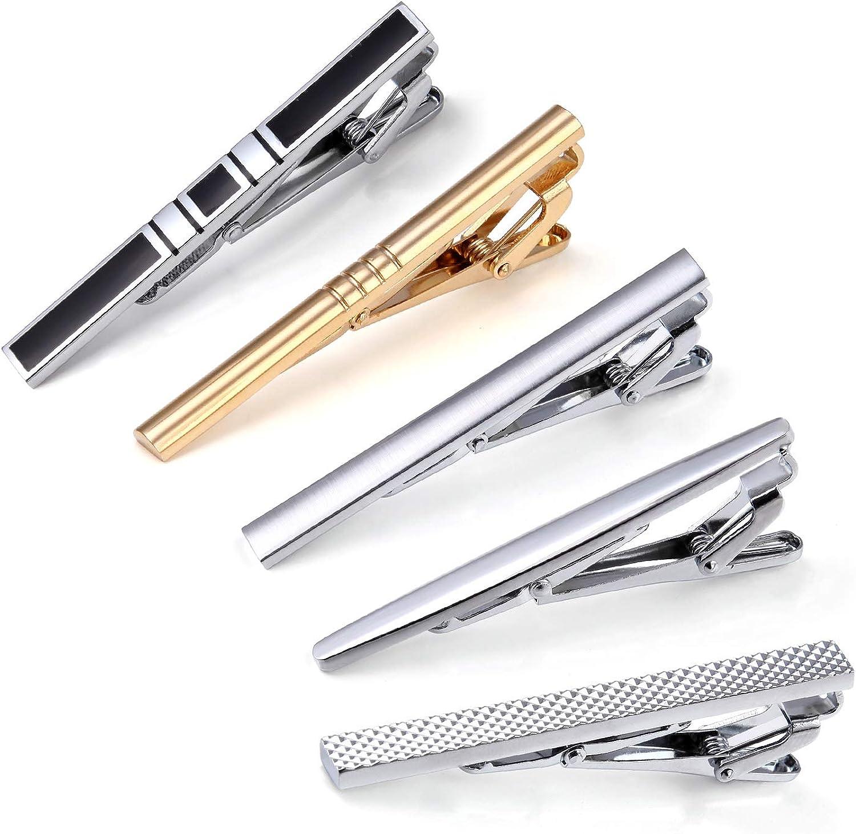 HISDERN Fashion Necktie Clips Tie Bar Clips Tie Pins Set for Men Pack of 5