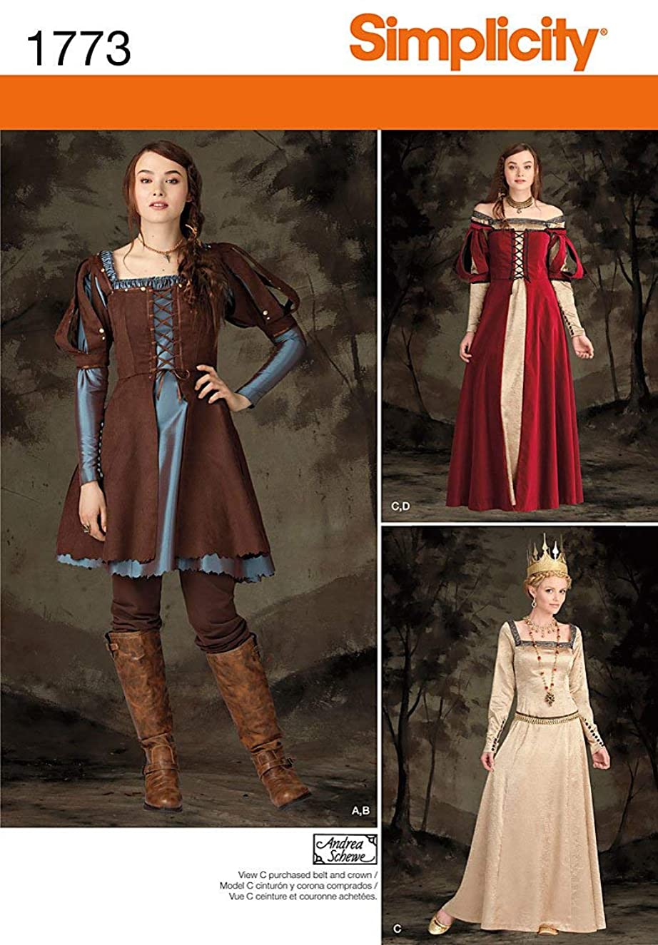 Simplicity Pattern 1773 H5 Misses' Costume Medieval Dress in Two Lengths, Size 6-8-10-12-14