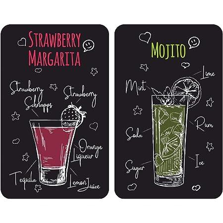 WENKO Plaques de protection en verre universel Margarita - Set de 2, couvre-plaque de cuisson pour tous les types de cuisinière, Verre trempé, 3030 x 1.8-5.5 x 5252 cm, Multicolore