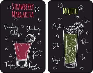 WENKO Plaques de protection en verre universel Margarita - Set de 2, couvre-plaque de cuisson pour tous les types de cuisi...