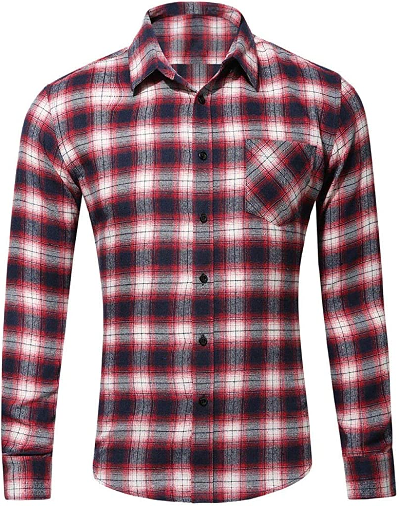 YAYUMI Men's Button Down Fit Plaid Shirts Flannel Casual Shirts-Plaid Fleece Shirt Button Up Top