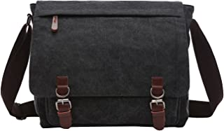 Berchirly Casual Canvas Messenger Cross Bag Travel Daypack Men Women Dark Gray