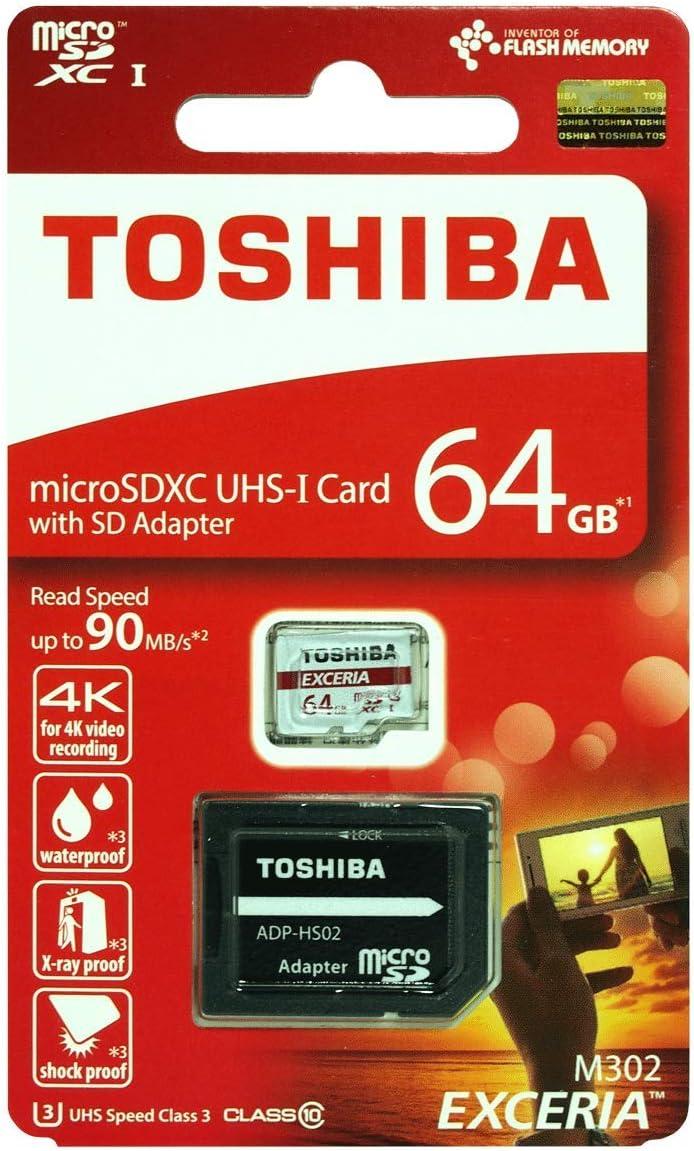 Toshiba 64GB Micro SD Memory Card M302 SDXC UHS1 U1 Class 10 Red Retail Pack