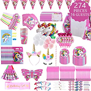 Unicorn Party Supplies Set - 274 pcs Set With Unicorn Birthday Party Supplies, Pink Unicorn Headband for Girls, Birthday Party Decorations, Unicorn Balloons, Pin the Horn on the Unicorn Game and More, Serves 16