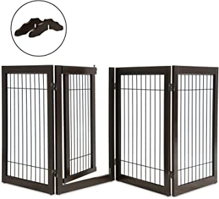 """Arf Pets Freestanding Dog Gate with Walk Through Door, 4 Pannel, Expands Up to 80"""" Wide, 31.5"""" High - Bonus Set of Foot Supporters Included"""