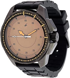 Fastrack Commando Men's Brown Dial Silicone Band Watch - T3084NP01