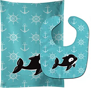 Caroline's Treasures Whale and Anchors Baby Bib & Burp Cloth, Multicolor, Large