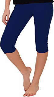 Women's and Girl's Knee-Length Leggings | Stretchy Leggings | Cotton Spandex | XS Child - 5X Adult