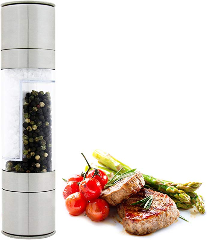DualKitchenWare Salt Pepper Grinder Set 2 In 1 Durable Stainless Steel Body Adjustable Ceramic Grinding Mill