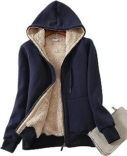 Women's Casual Winter Warm Sherpa Lined Zip Up Hooded Sweatshirt Jacket Coat