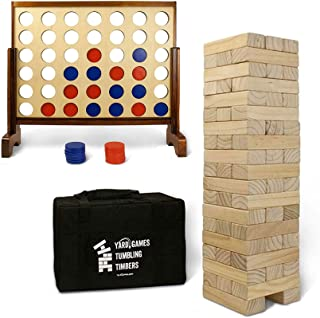 YardGames Giant Tumbling Timbers Natural Pine Blocks Wood Stacking Game Bundle with Outdoor 4 in a Row Lawn Game with Stor...