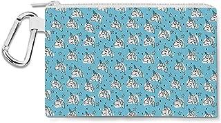 Unicorn Stars Canvas Zip Pouch - Multi Purpose Pencil Case Bag