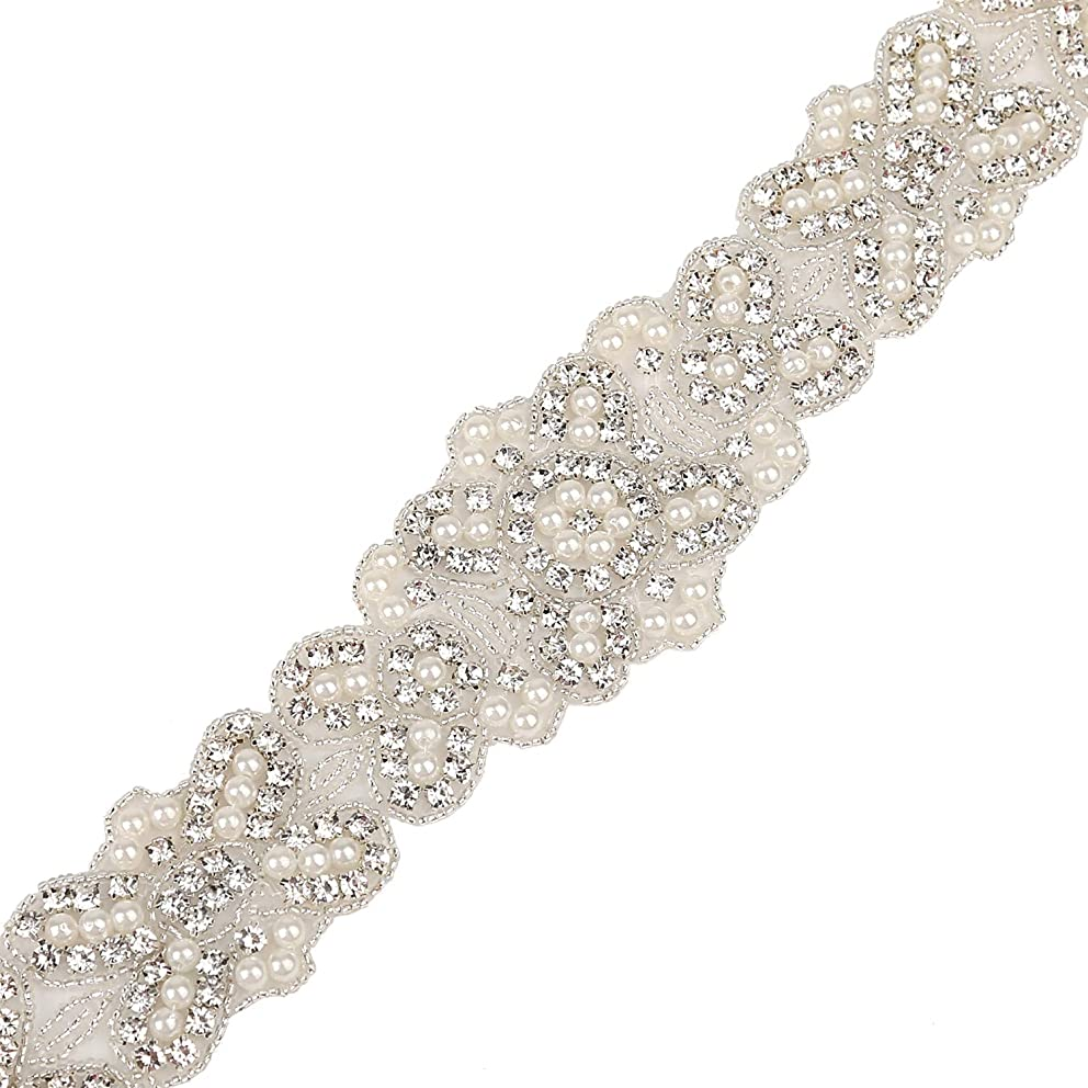 Rhinestone Applique Clear Silver Pearl Applique Sewing for Ball Gown and Bridal Belt DIY Decoration