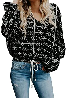 Kulywon Women Casual New Print Long Sleeve Hooded Pullover Hoodie Sweatshirt Tops Blouse