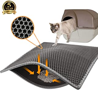 Topcovos Covos Cat Litter Mat, Double Layer Honeycomb Waterproof Urineproof Size24 x18 Inch Washable Litter Trapping Mat for Litter Boxes Easy Clean Phthalate-Free EVA Kitty Litter Mat
