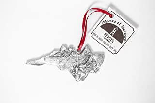 USA Handcrafted North Carolina NC State Symbols Cardinal Dogwood Christmas Ornament Pewter