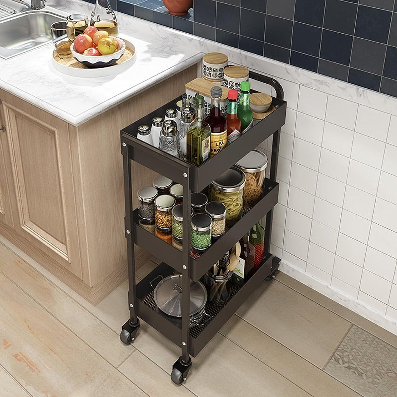 PeaceipUS Kitchen Shelf Landing Multilayer Home Carts Mobile Storage Rack (color   Black)