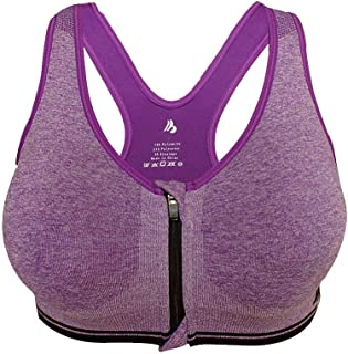 ZYDP Women's Zipper Front Sports Bra High Impact Full Support Workout Gym Activewear Wirefree Bra (Color : Purple, Size : S)