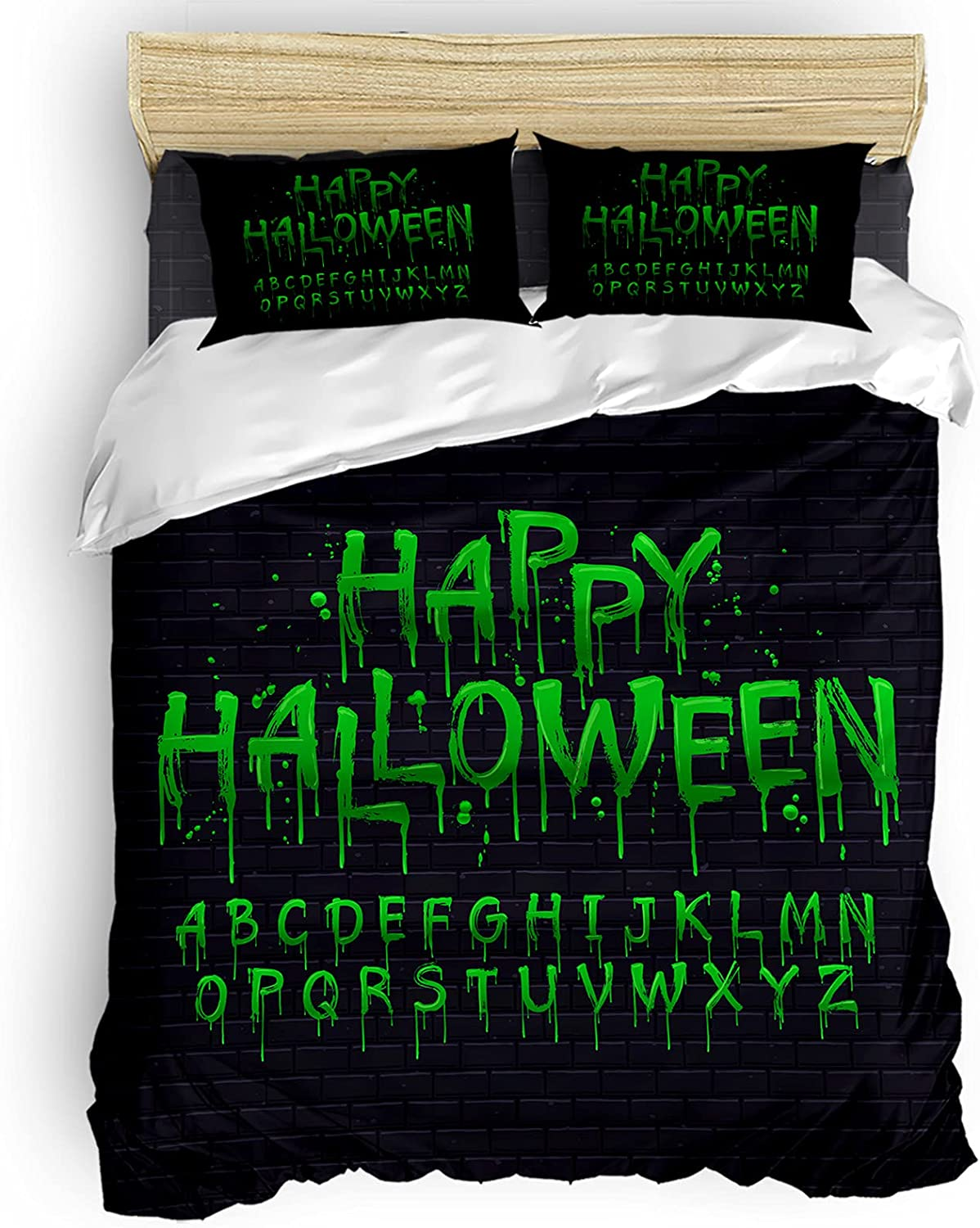 Bedding Duvet Cover 4 Piece Set Bloody wholesale Words Scary Portland Mall Green C