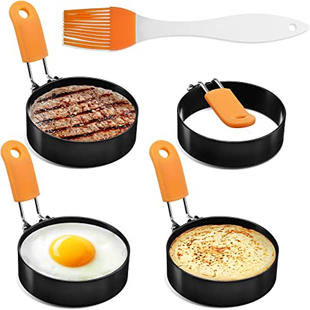 Egg Rings, Egg Ring for Frying Eggs Mcmuffins,4 Pack Stainless Steel Egg Cooking Rings with Anti-scald Handle, Non Stick Coating, Oil Brush,Egg Mold for Perfect Pancake, Sandwich, McMuffin