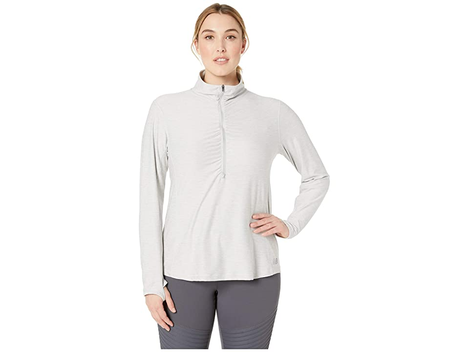 New Balance Core Space Dye 1/4 Zip (Sea Salt Heather) Women