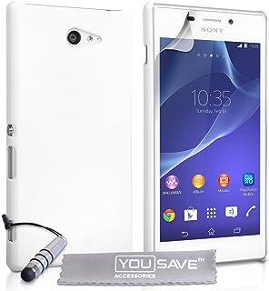 Yousave Accessories® Carcasa híbrida rígida con Mini lápiz Capacitivo para Sony Xperia M2 - Blanco