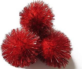 YYCRAFT 15pcs Jumbo Glitter Tinsel Pom Poms Sparkle Balls for DIY Craft,Cat Toys-Red(2