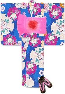 浴衣 こども 女の子 110 セット レトロな柄の浴衣 兵児帯 下駄 3点セット「青 橘に雪輪」TSGY-1108-setH