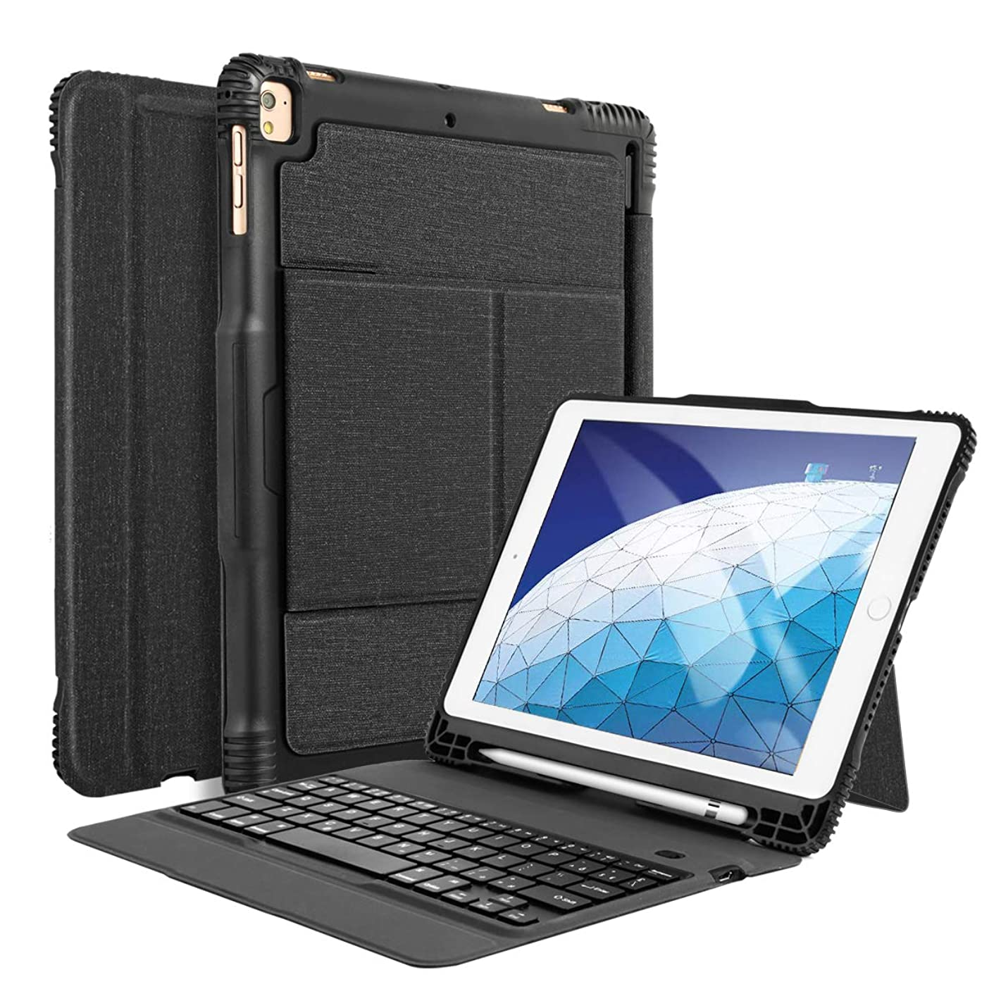 iPad Air 3rd Gen 10.5 Keyboard Case with Pencil Holder, Detachable Bluetooth Keyboard with Shockproof Heavy Duty Full-Body Protective Case for iPad Air 10.5 (3rd Gen) 2019 & iPad Pro 10.5 2017